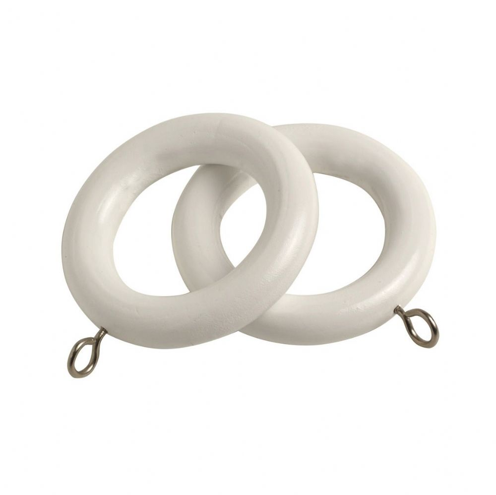 Speedy County 28mm Wooden Curtain Rings (Pack of 4) - White